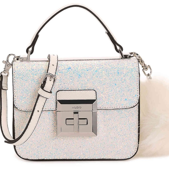 edc3e6b081b White Iridescent Glitter CHIADDA CROSSBODY BAG